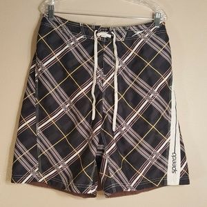 Speedo Men's L Brown Striped Swim Trunks